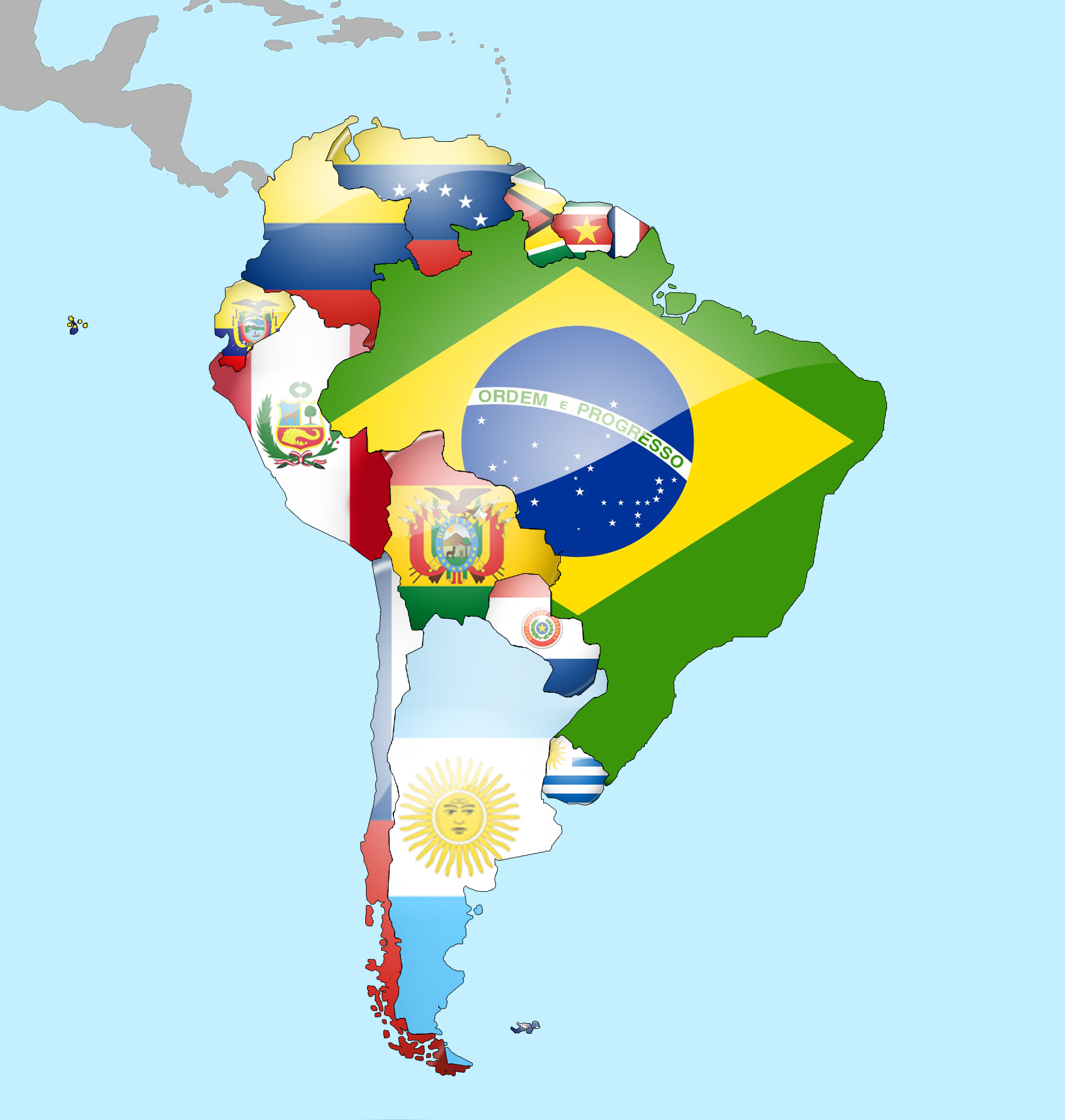 South American Flags MOD Mods  Downloads - South america map and flags